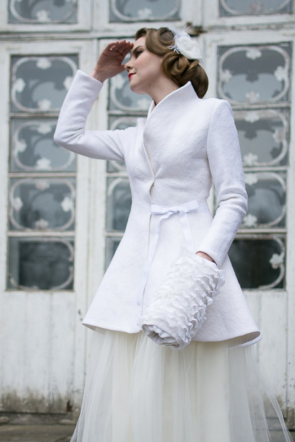 Elegant wedding coat |white peplum bridal coat | winter wedding coat