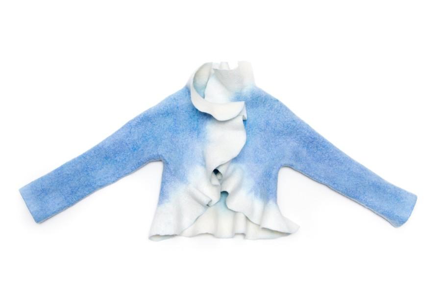 Felt bolero for girls - white bolero - wool jacket - Christening jacket - First communion clothes - wool bolero - long sleeve bolero