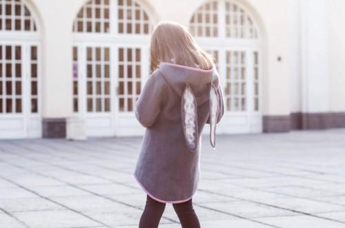 Grey wool felted rabbit coat | fall coat | girls wool coat | felt spring coat | wool felted coat | felt clothing | felt bunny | cocoon coat
