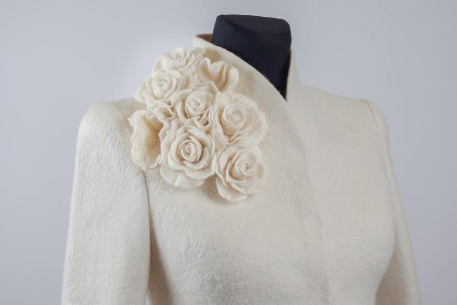 Warm elegant felt bridal jacket | warm wedding jacket|bridal cover up |wedding warm up