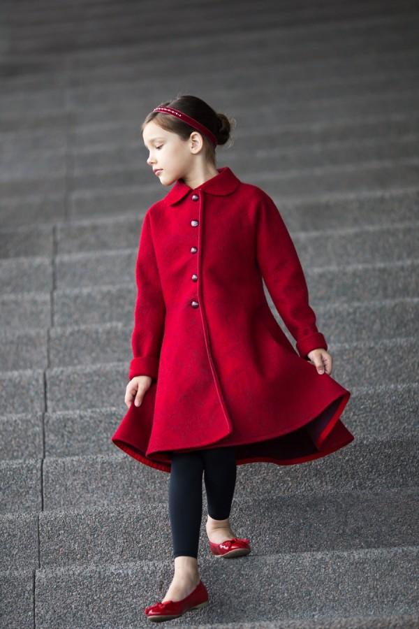 Red wool coat   red felted coat   wool coat   felt fall coat for girls   fall coat   fall fashion   princess coat   Christmas coat