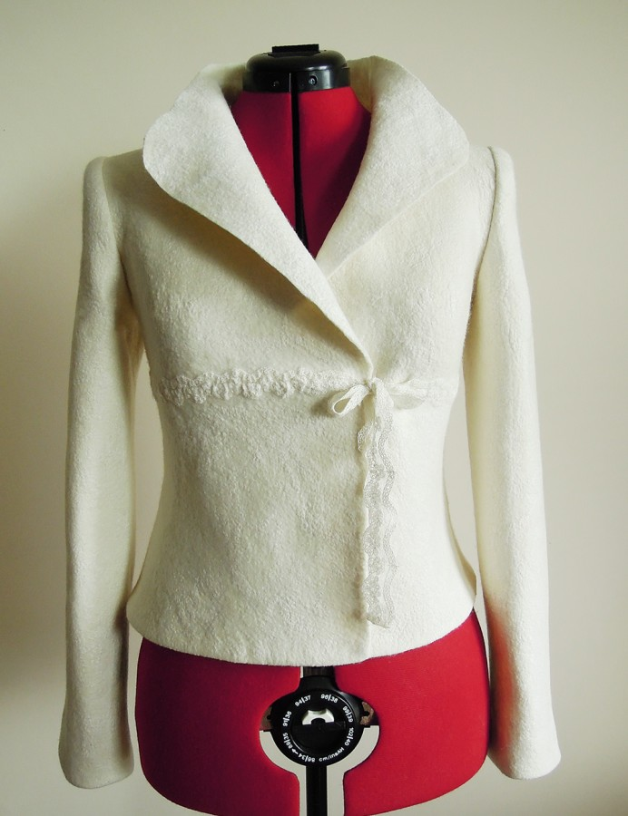 White felted bridal jacket for spring and summer